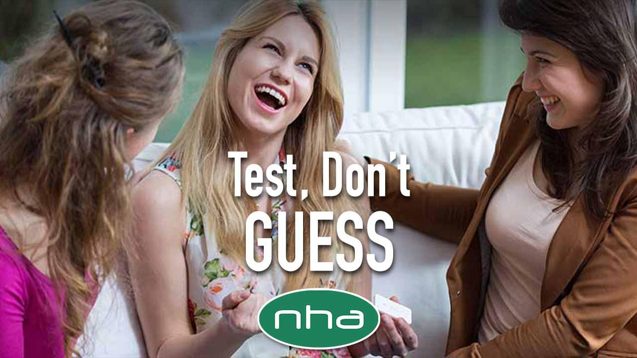 North Hills Automotive editorial image of three women delighted by pregnancy test results.